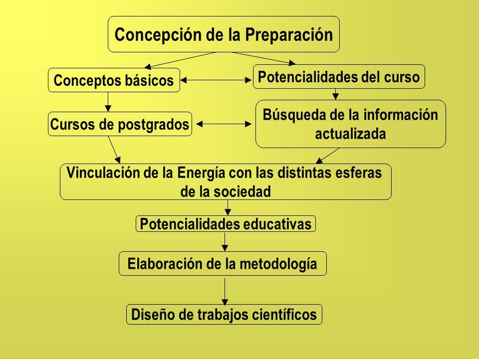 Concepción de la Preparación Conceptos básicos Potencialidades del curso Cursos de postgrados Búsqueda de la información actualizada Elaboración de la