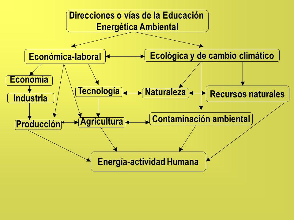 Direcciones o vías de la Educación Energética Ambiental Económica-laboral Ecológica y de cambio climático Producción Agricultura Contaminación ambient