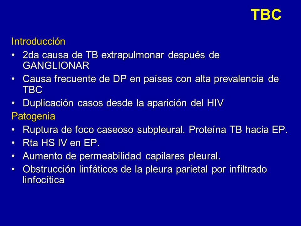 TBCIntroducción 2da causa de TB extrapulmonar después de GANGLIONAR2da causa de TB extrapulmonar después de GANGLIONAR Causa frecuente de DP en países