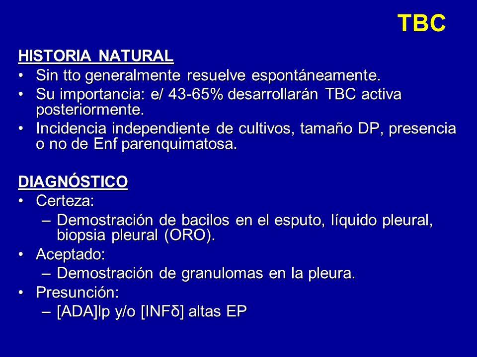 TBC HISTORIA NATURAL Sin tto generalmente resuelve espontáneamente.Sin tto generalmente resuelve espontáneamente. Su importancia: e/ 43-65% desarrolla
