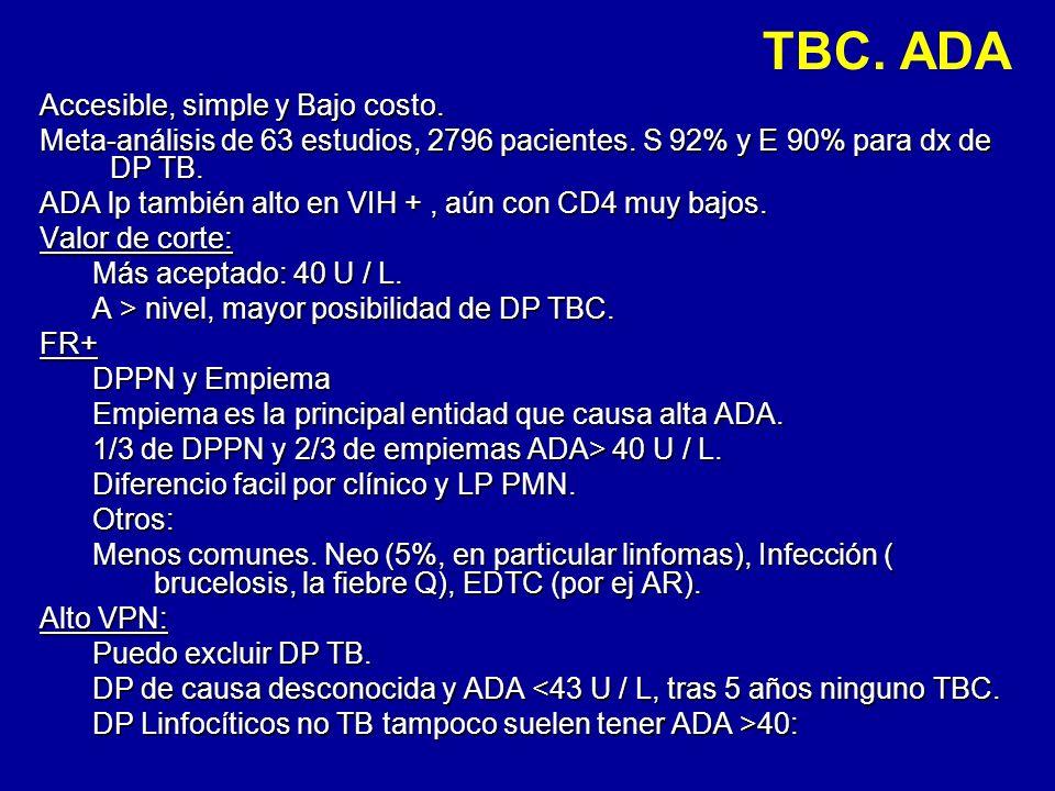TBC. ADA Accesible, simple y Bajo costo. Meta-análisis de 63 estudios, 2796 pacientes. S 92% y E 90% para dx de DP TB. ADA lp también alto en VIH +, a