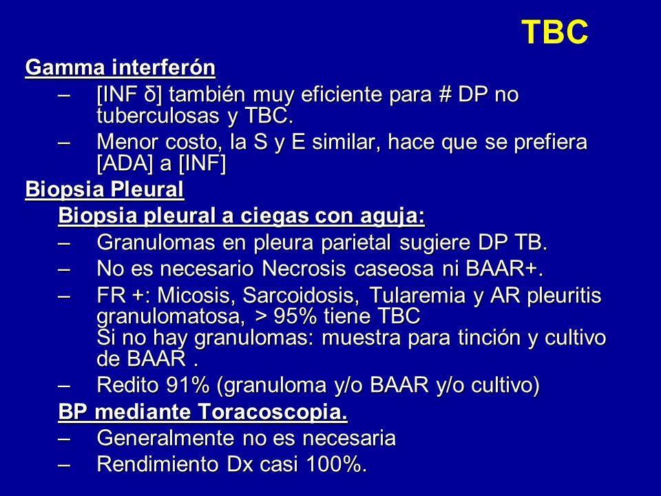 TBC Gamma interferón –[INF δ] también muy eficiente para # DP no tuberculosas y TBC. –Menor costo, la S y E similar, hace que se prefiera [ADA] a [INF