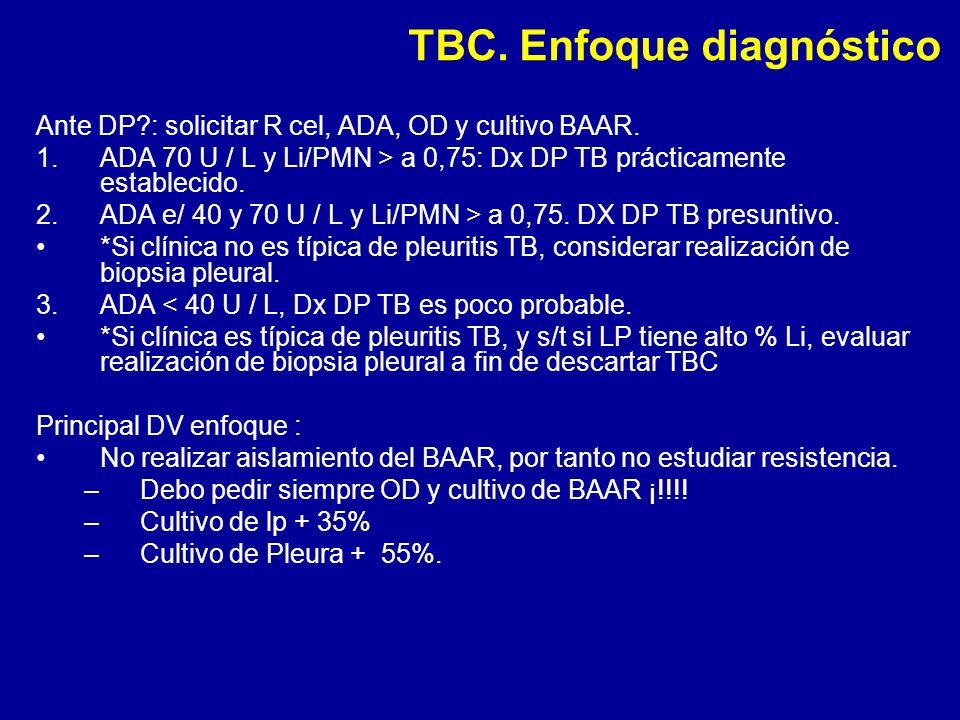 TBC. Enfoque diagnóstico Ante DP?: solicitar R cel, ADA, OD y cultivo BAAR. 1.ADA 70 U / L y Li/PMN > a 0,75: Dx DP TB prácticamente establecido. 2.AD