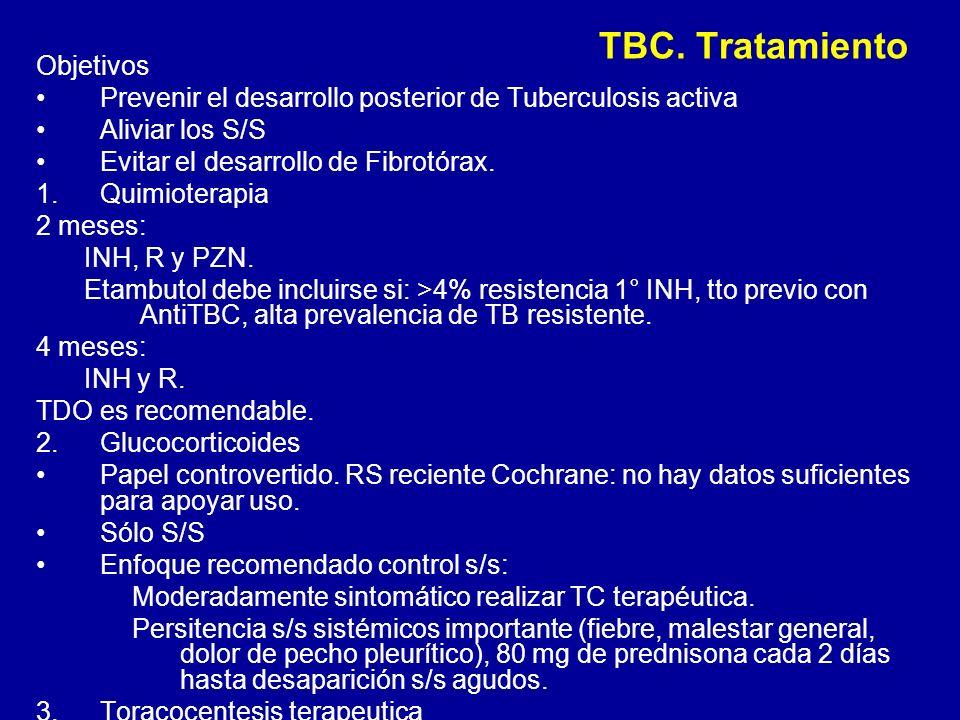 TBC. Tratamiento Objetivos Prevenir el desarrollo posterior de Tuberculosis activa Aliviar los S/S Evitar el desarrollo de Fibrotórax. 1.Quimioterapia