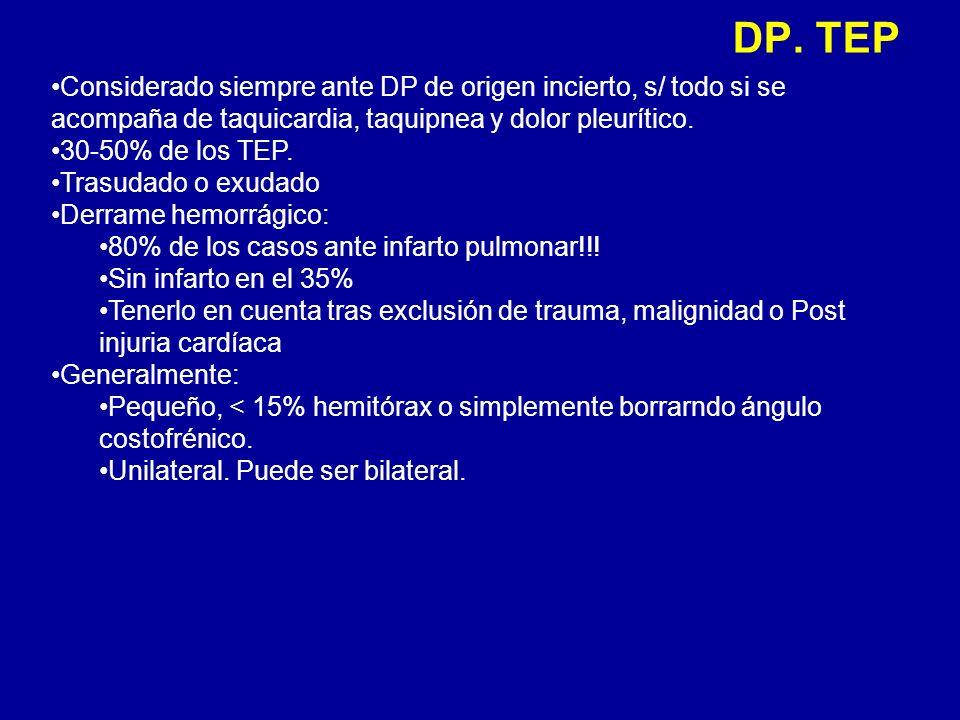 DP. TEP Considerado siempre ante DP de origen incierto, s/ todo si se acompaña de taquicardia, taquipnea y dolor pleurítico. 30-50% de los TEP. Trasud
