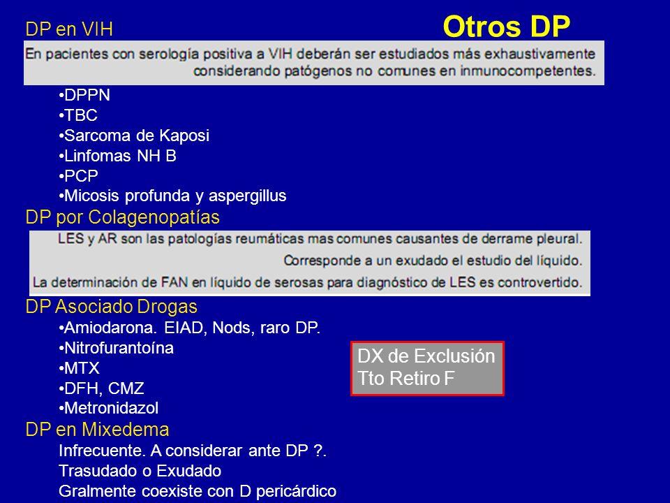 Otros DP DP en VIH DPPN TBC Sarcoma de Kaposi Linfomas NH B PCP Micosis profunda y aspergillus DP por Colagenopatías DP Asociado Drogas Amiodarona. EI