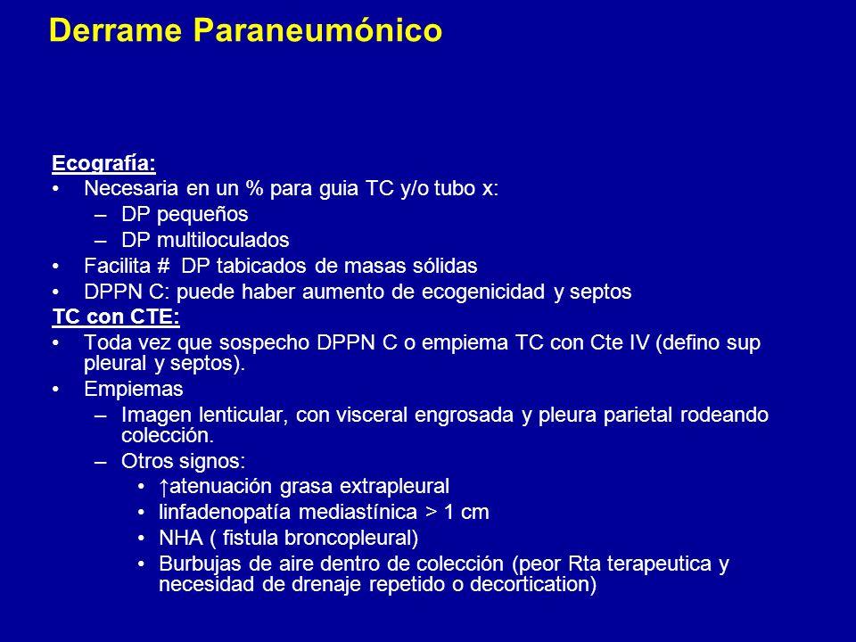 Ecografía: Necesaria en un % para guia TC y/o tubo x: –DP pequeños –DP multiloculados Facilita # DP tabicados de masas sólidas DPPN C: puede haber aum