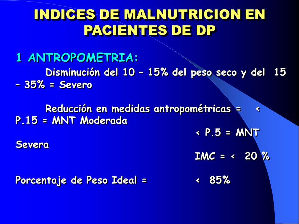 INDICES DE MALNUTRICION EN PACIENTES DE DP 1 ANTROPOMETRIA: Disminución del 10 – 15% del peso seco y del 15 – 35% = Severo Reducción en medidas antrop