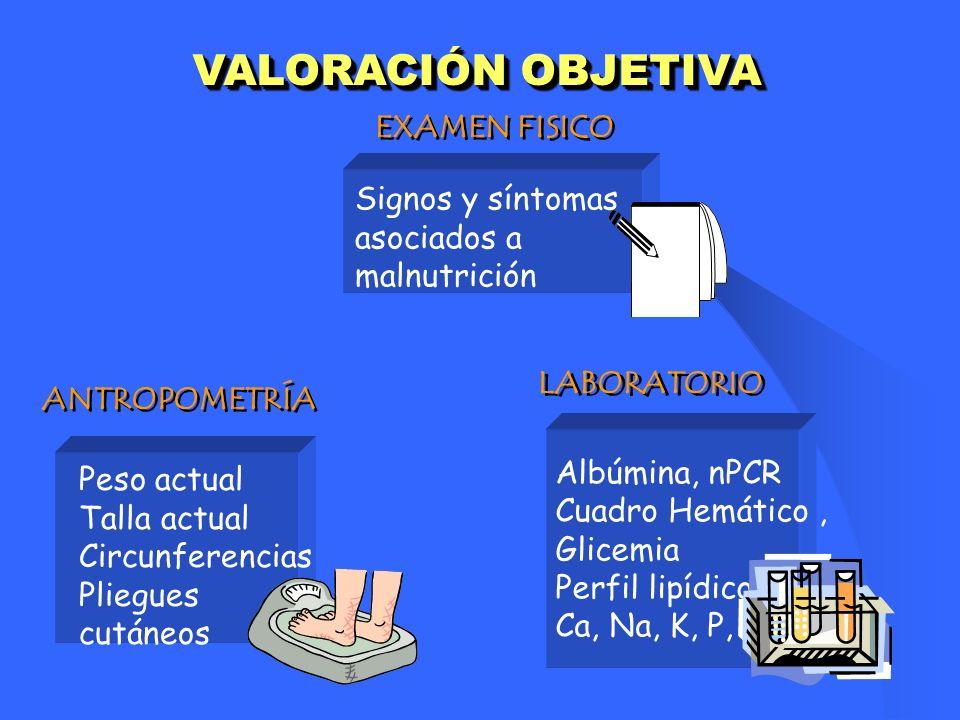 VALORACIÓN OBJETIVA Peso actual Talla actual Circunferencias Pliegues cutáneos ANTROPOMETRÍA EXAMEN FISICO Signos y síntomas asociados a malnutrición