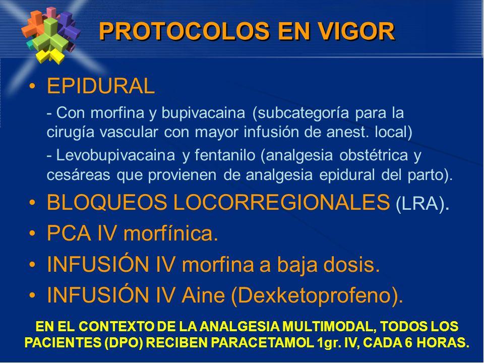 PROTOCOLOS EN VIGOR EPIDURAL - Con morfina y bupivacaina (subcategoría para la cirugía vascular con mayor infusión de anest. local) - Levobupivacaina