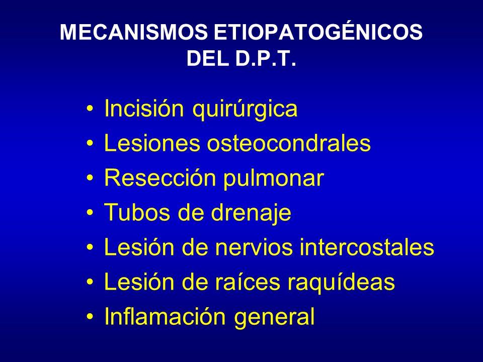 MECANISMOS ETIOPATOGÉNICOS DEL D.P.T. Incisión quirúrgica Lesiones osteocondrales Resección pulmonar Tubos de drenaje Lesión de nervios intercostales