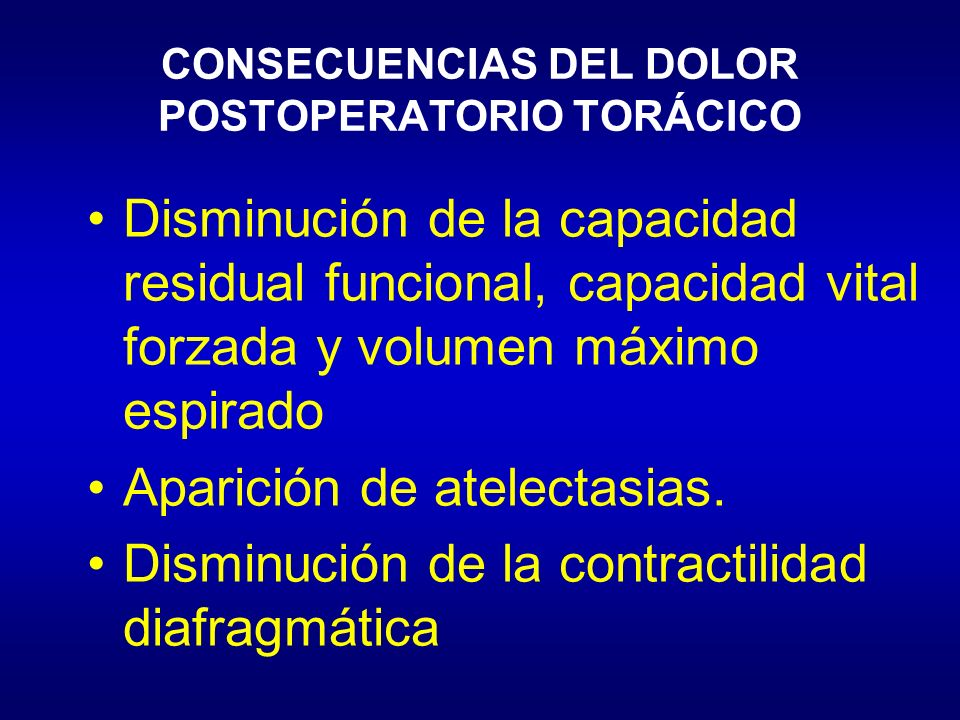 CONSECUENCIAS DEL DOLOR POSTOPERATORIO TORÁCICO Disminución de la capacidad residual funcional, capacidad vital forzada y volumen máximo espirado Apar