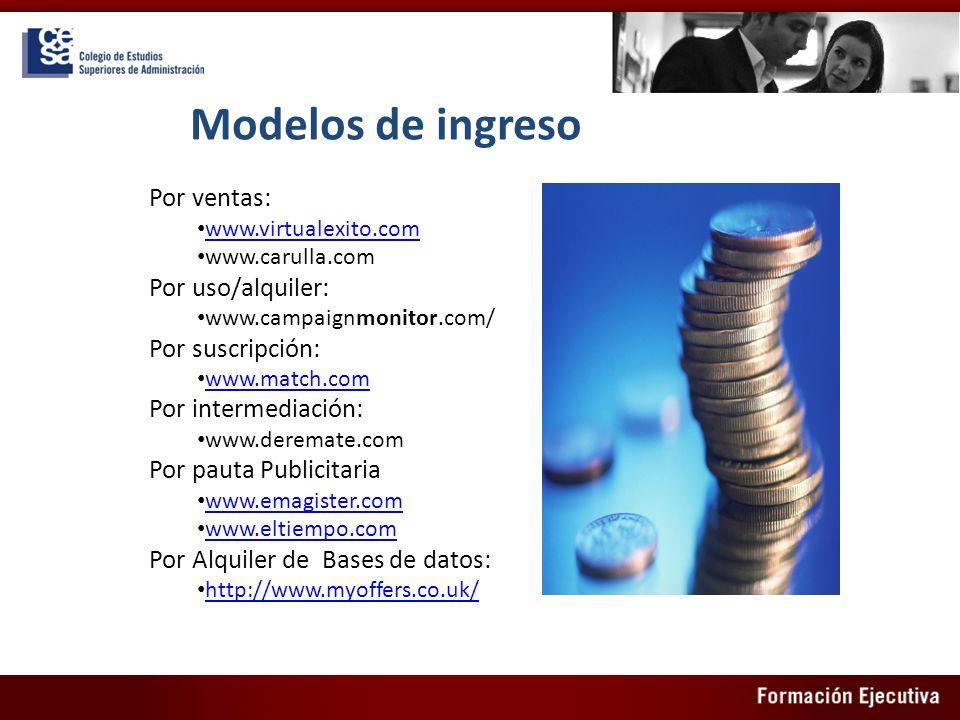 Modelos de ingreso Por ventas: www.virtualexito.com www.carulla.com Por uso/alquiler: www.campaignmonitor.com/ Por suscripción: www.match.com Por inte
