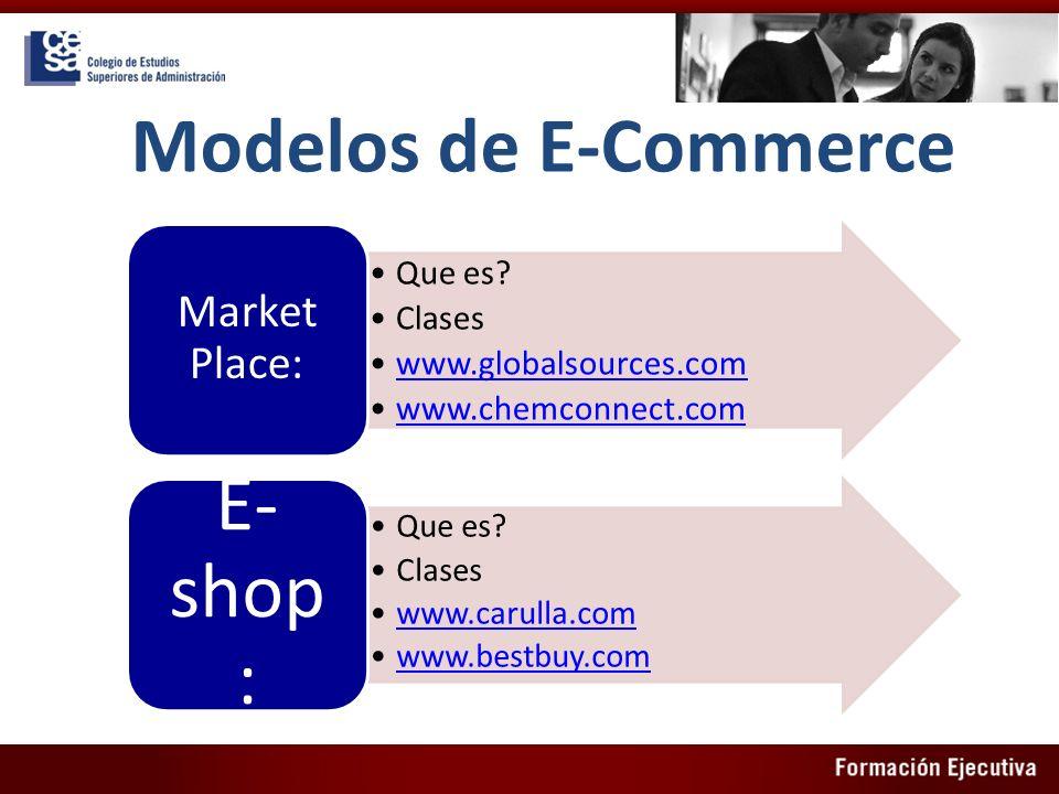 Modelos de E-Commerce Que es? Clases www.globalsources.com www.chemconnect.com Market Place: Que es? Clases www.carulla.com www.bestbuy.com E- shop :