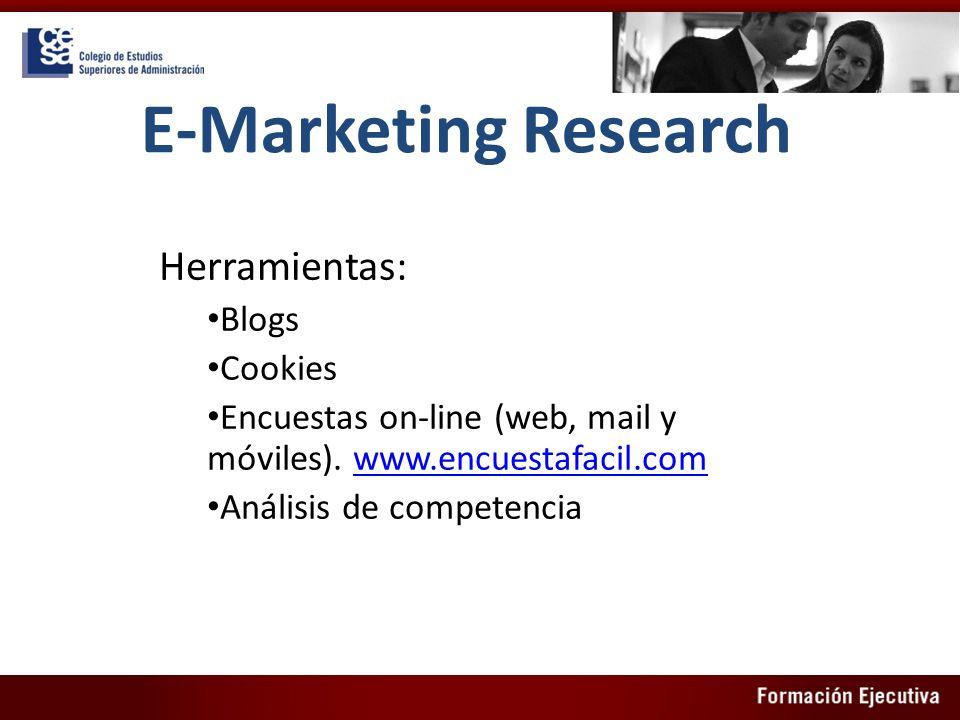 E-Marketing Research Herramientas: Blogs Cookies Encuestas on-line (web, mail y móviles). www.encuestafacil.comwww.encuestafacil.com Análisis de compe