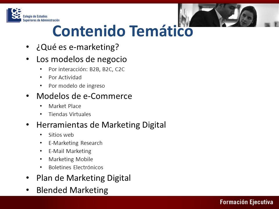 Contenido Temático ¿Qué es e-marketing? Los modelos de negocio Por interacción: B2B, B2C, C2C Por Actividad Por modelo de ingreso Modelos de e-Commerc