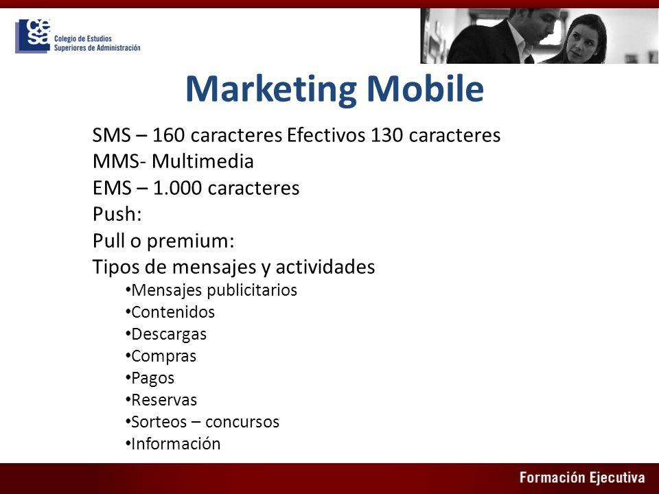 Marketing Mobile SMS – 160 caracteres Efectivos 130 caracteres MMS- Multimedia EMS – 1.000 caracteres Push: Pull o premium: Tipos de mensajes y activi