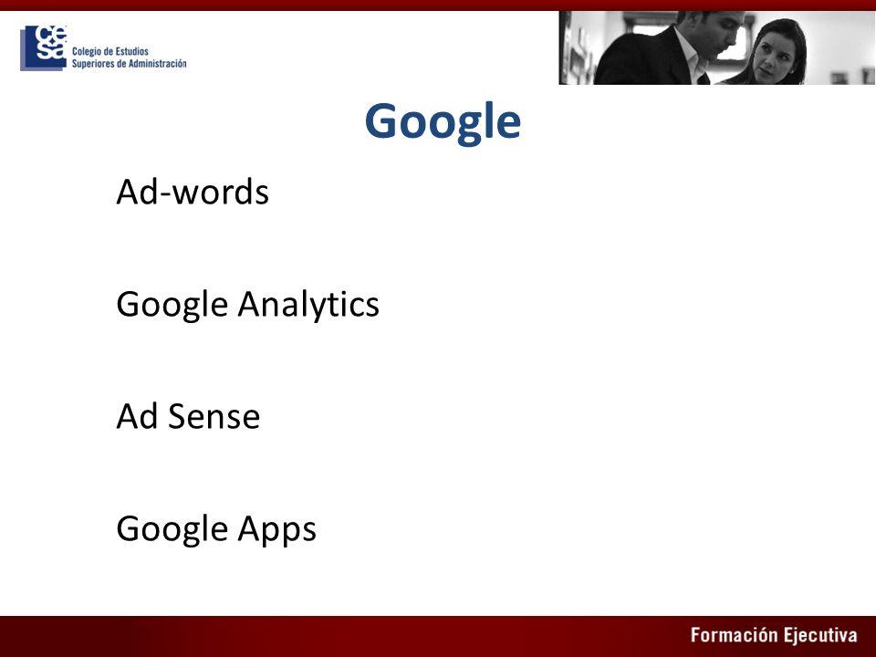 Google Ad-words Google Analytics Ad Sense Google Apps