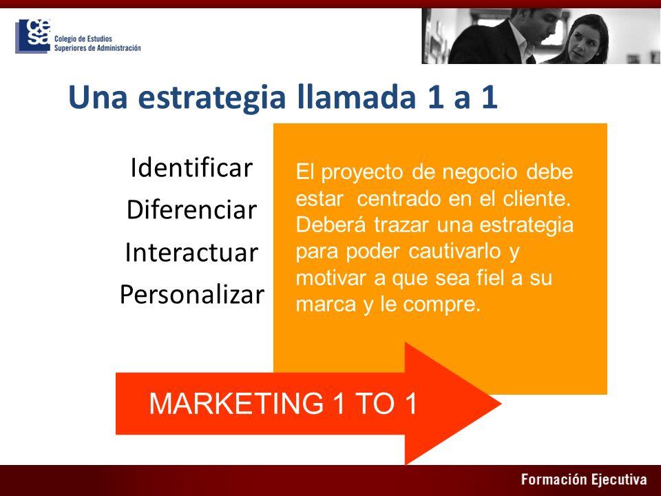 Una estrategia llamada 1 a 1 Identificar Diferenciar Interactuar Personalizar El proyecto de negocio debe estar centrado en el cliente. Deberá trazar