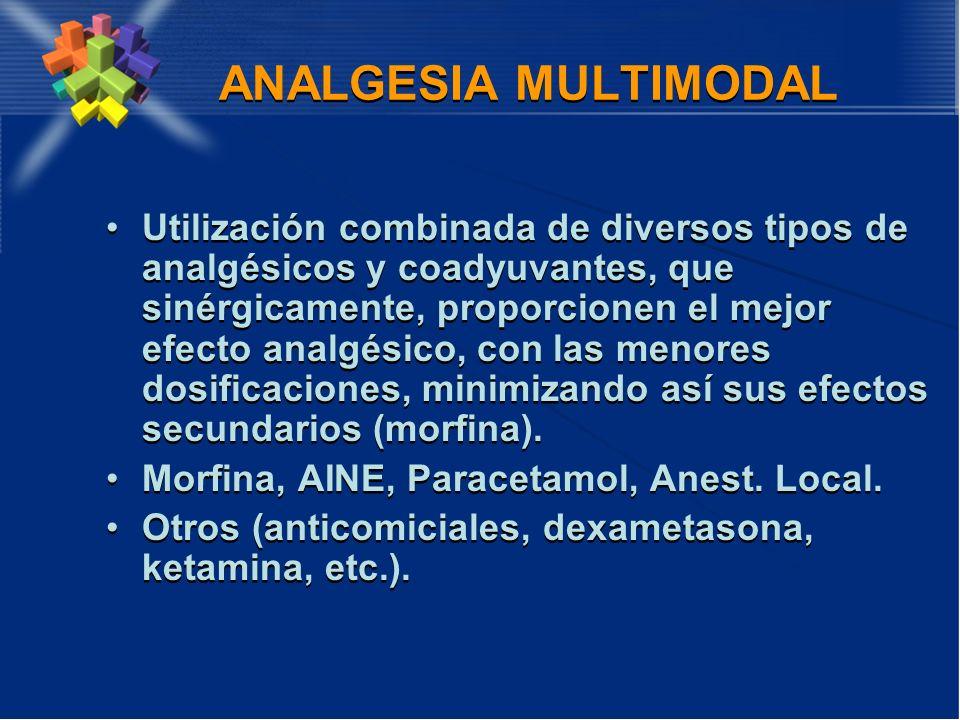 ANALGESIA MULTIMODAL Utilización combinada de diversos tipos de analgésicos y coadyuvantes, que sinérgicamente, proporcionen el mejor efecto analgésic