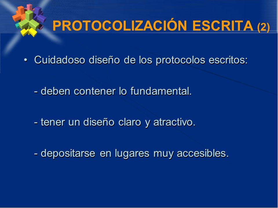 PROTOCOLIZACIÓN ESCRITA (2) Cuidadoso diseño de los protocolos escritos: - deben contener lo fundamental. - tener un diseño claro y atractivo. - depos