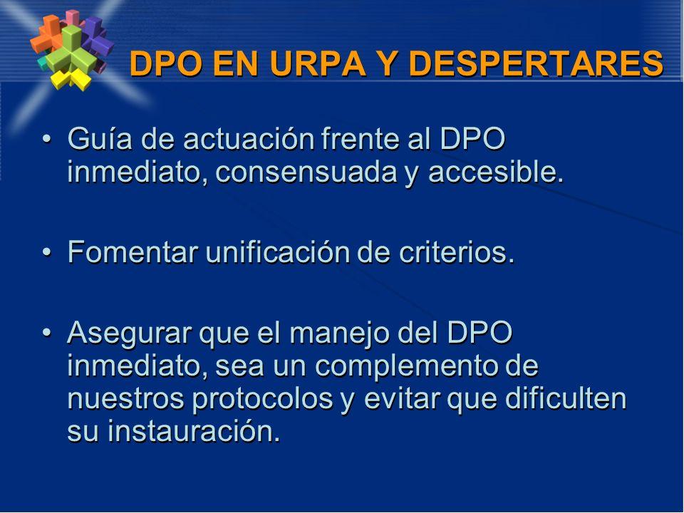 DPO EN URPA Y DESPERTARES Guía de actuación frente al DPO inmediato, consensuada y accesible. Fomentar unificación de criterios. Asegurar que el manej
