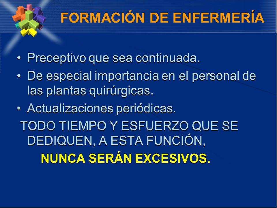 FORMACIÓN DE ENFERMERÍA Preceptivo que sea continuada. De especial importancia en el personal de las plantas quirúrgicas. Actualizaciones periódicas.