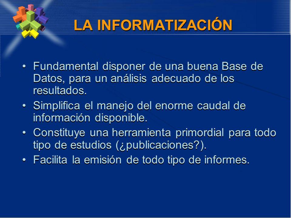 LA INFORMATIZACIÓN Fundamental disponer de una buena Base de Datos, para un análisis adecuado de los resultados. Simplifica el manejo del enorme cauda