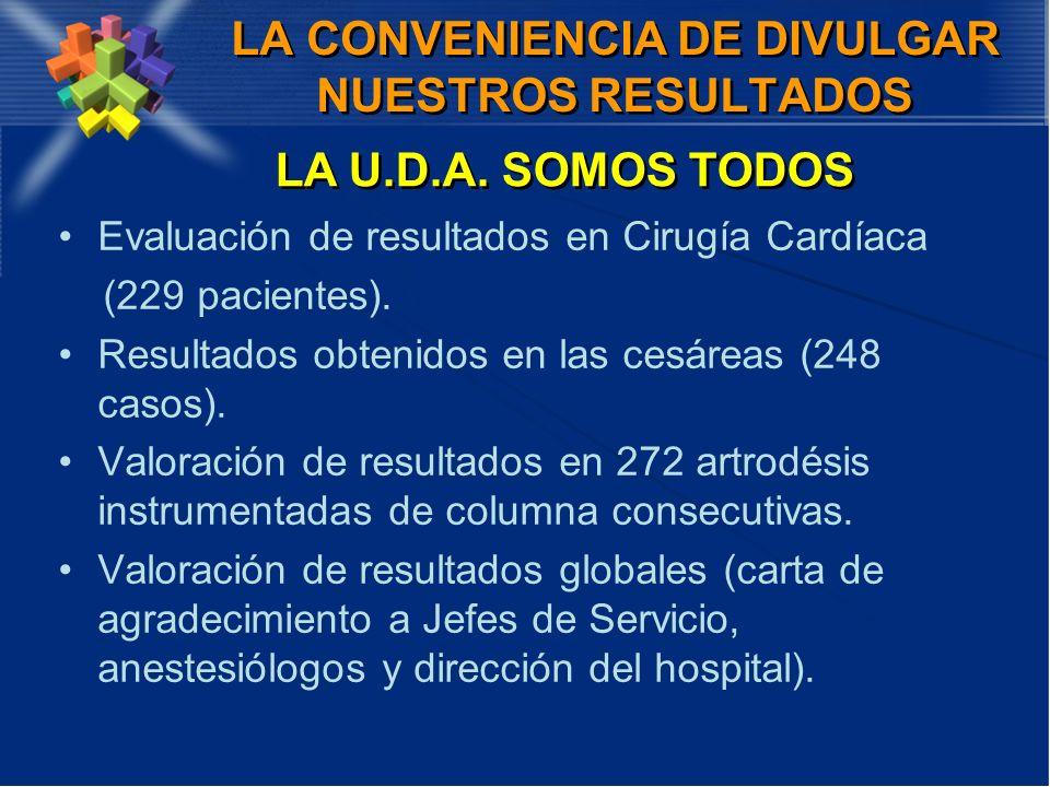 LA CONVENIENCIA DE DIVULGAR NUESTROS RESULTADOS Evaluación de resultados en Cirugía Cardíaca (229 pacientes). Resultados obtenidos en las cesáreas (24
