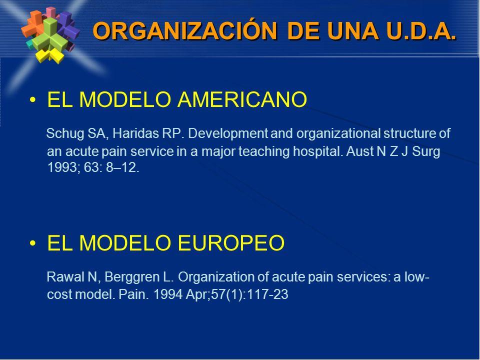 ORGANIZACIÓN DE UNA U.D.A. EL MODELO AMERICANO Schug SA, Haridas RP. Development and organizational structure of an acute pain service in a major teac
