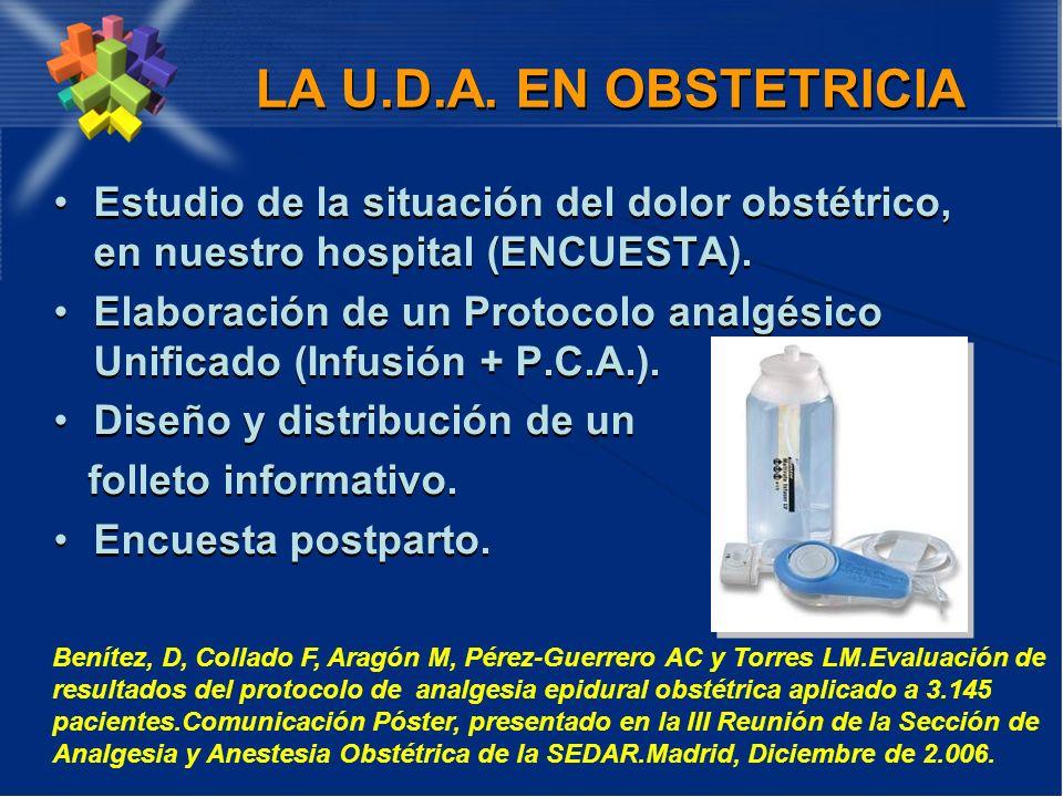 LA U.D.A. EN OBSTETRICIA Estudio de la situación del dolor obstétrico, en nuestro hospital (ENCUESTA). Elaboración de un Protocolo analgésico Unificad