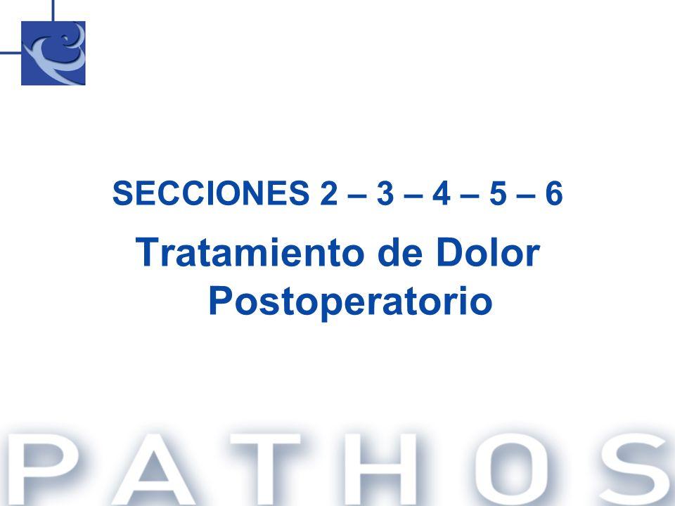 SECCIONES 2 – 3 – 4 – 5 – 6 Tratamiento de Dolor Postoperatorio