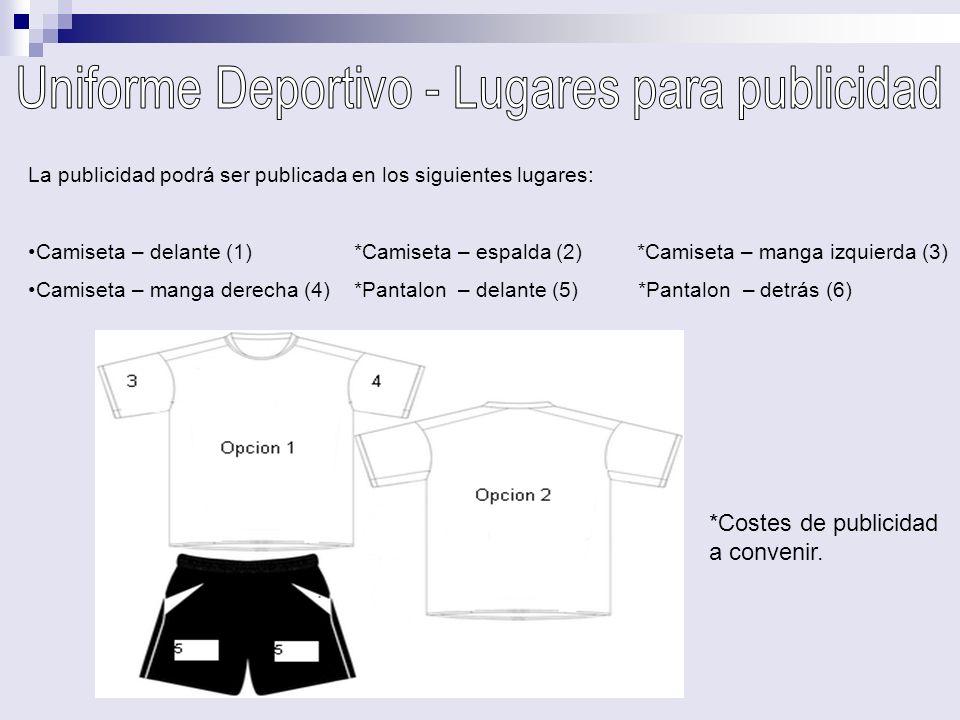 La publicidad podrá ser publicada en los siguientes lugares: Camiseta – delante (1) *Camiseta – espalda (2) *Camiseta – manga izquierda (3) Camiseta –