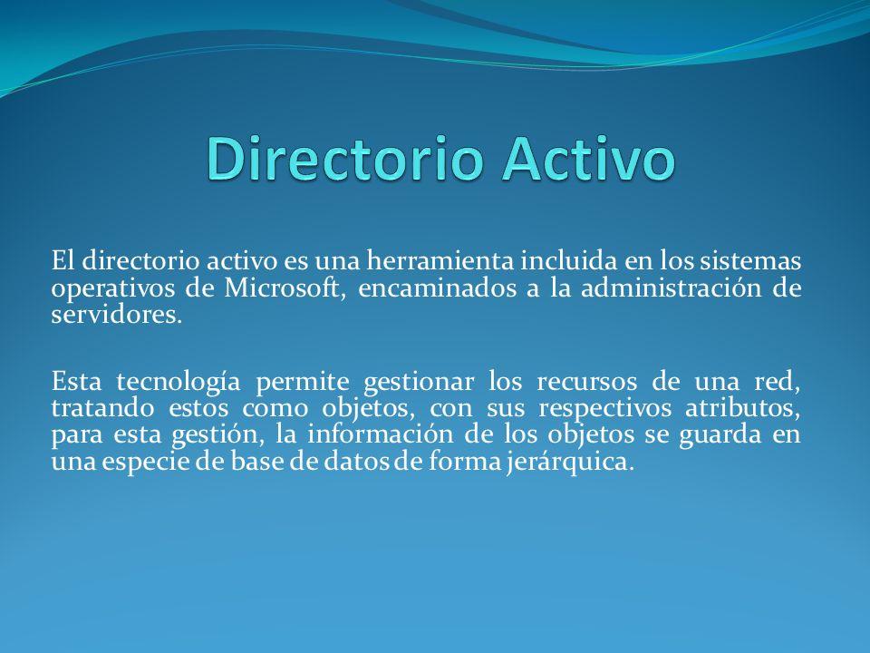 El directorio activo es una herramienta incluida en los sistemas operativos de Microsoft, encaminados a la administración de servidores.