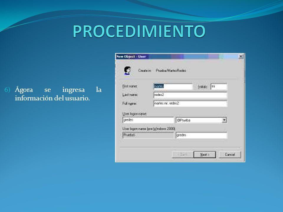 6) Ágora se ingresa la información del usuario.