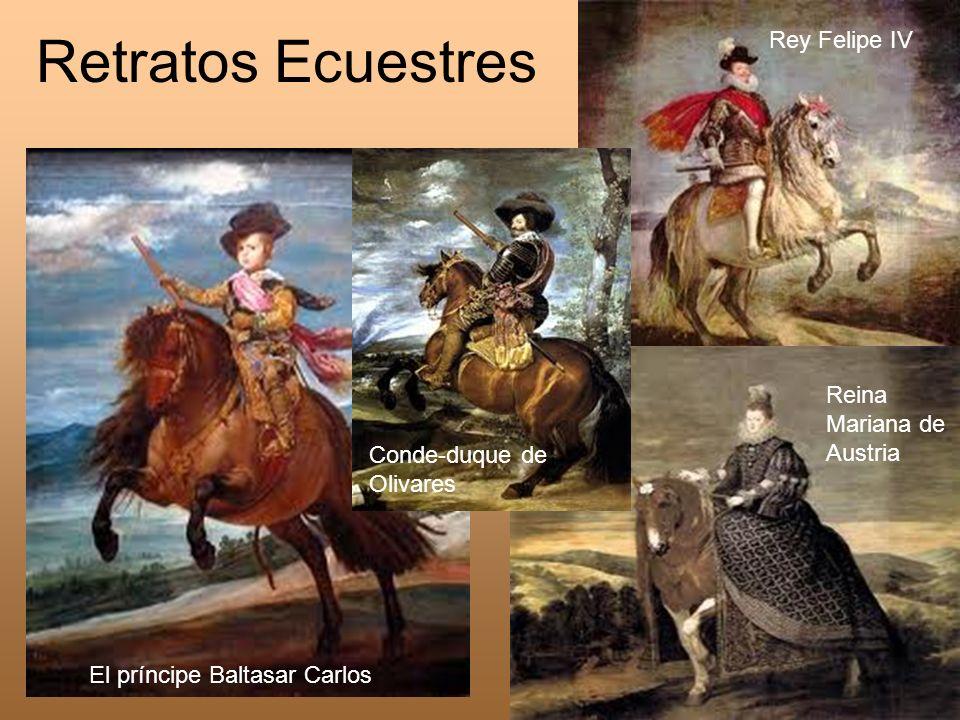 Retratos Ecuestres El príncipe Baltasar Carlos Conde-duque de Olivares Reina Mariana de Austria Rey Felipe IV