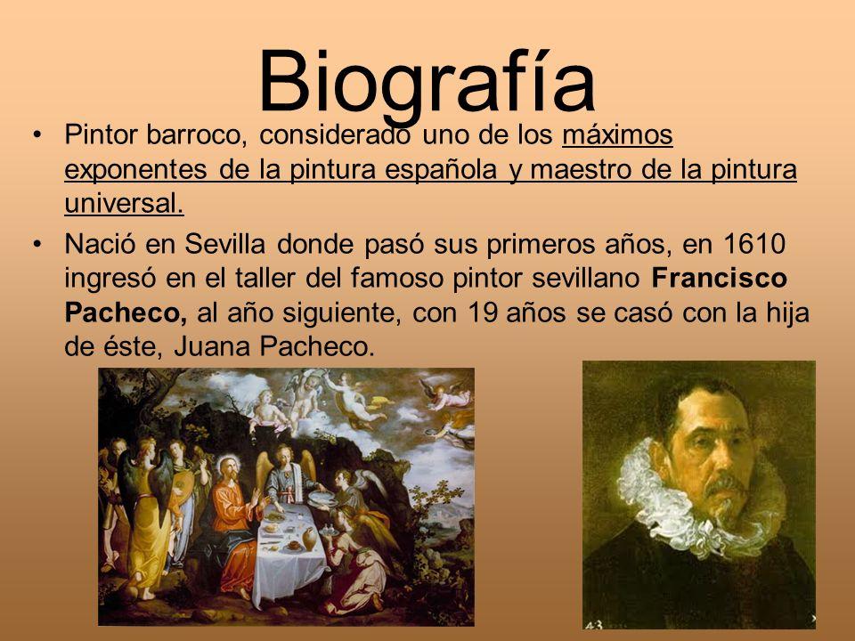 Biografía Pintor barroco, considerado uno de los máximos exponentes de la pintura española y maestro de la pintura universal. Nació en Sevilla donde p