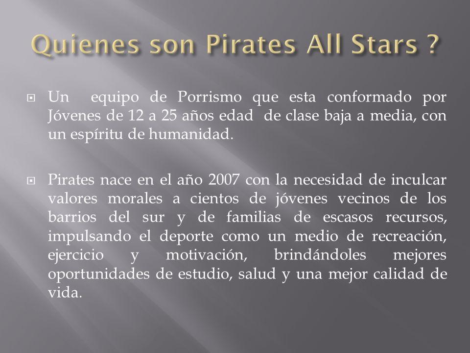 Un equipo de Porrismo que esta conformado por Jóvenes de 12 a 25 años edad de clase baja a media, con un espíritu de humanidad. Pirates nace en el año