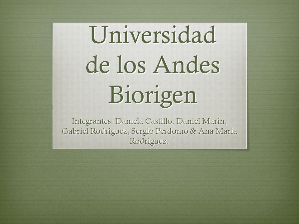 Universidad de los Andes Biorigen Integrantes: Daniela Castillo, Daniel Marín, Gabriel Rodriguez, Sergio Perdomo & Ana Maria Rodriguez.