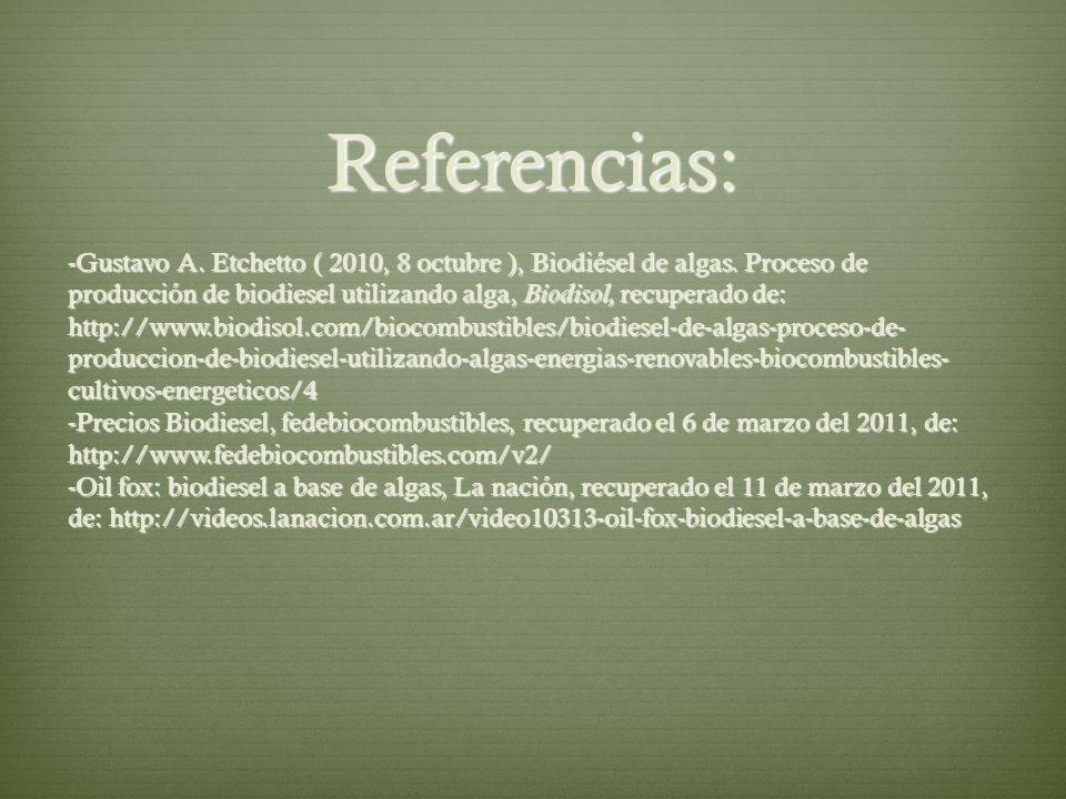 Referencias: -Gustavo A. Etchetto ( 2010, 8 octubre ), Biodiésel de algas. Proceso de producción de biodiesel utilizando alga, Biodisol, recuperado de
