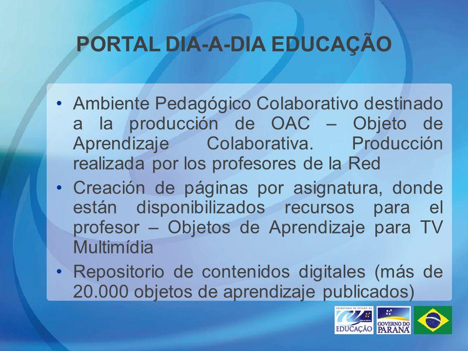 PORTAL DIA-A-DIA EDUCAÇÃO Ambiente Pedagógico Colaborativo destinado a la producción de OAC – Objeto de Aprendizaje Colaborativa. Producción realizada