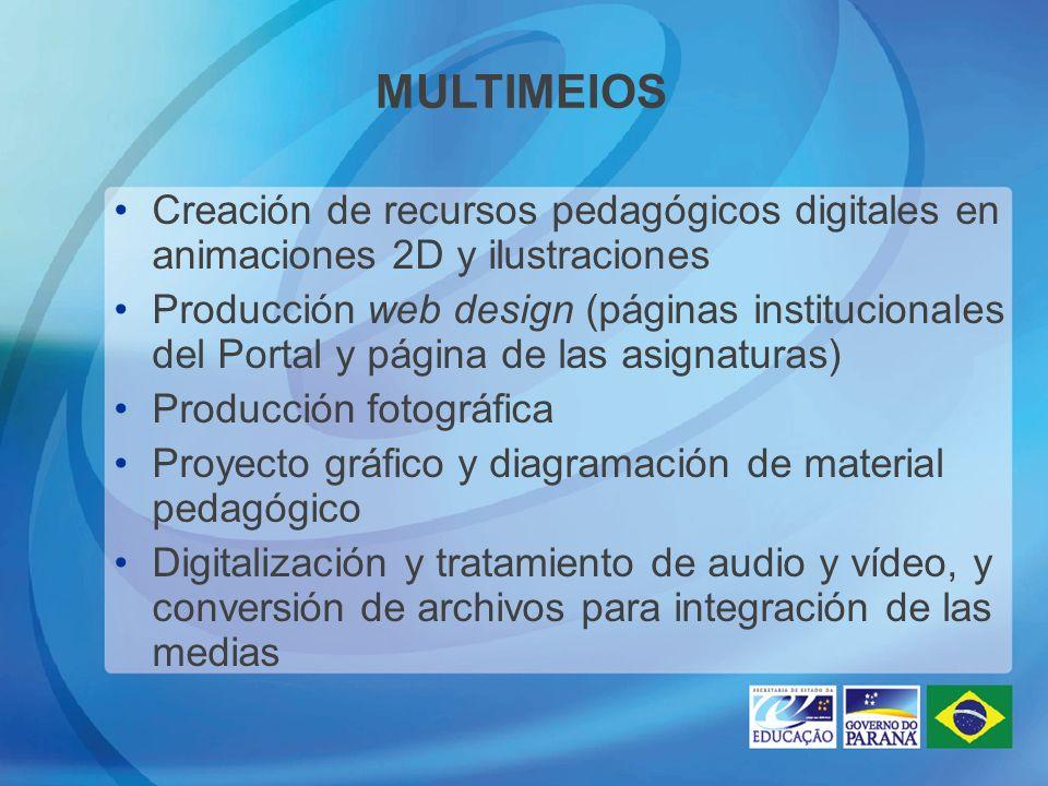 MULTIMEIOS Creación de recursos pedagógicos digitales en animaciones 2D y ilustraciones Producción web design (páginas institucionales del Portal y página de las asignaturas) Producción fotográfica Proyecto gráfico y diagramación de material pedagógico Digitalización y tratamiento de audio y vídeo, y conversión de archivos para integración de las medias