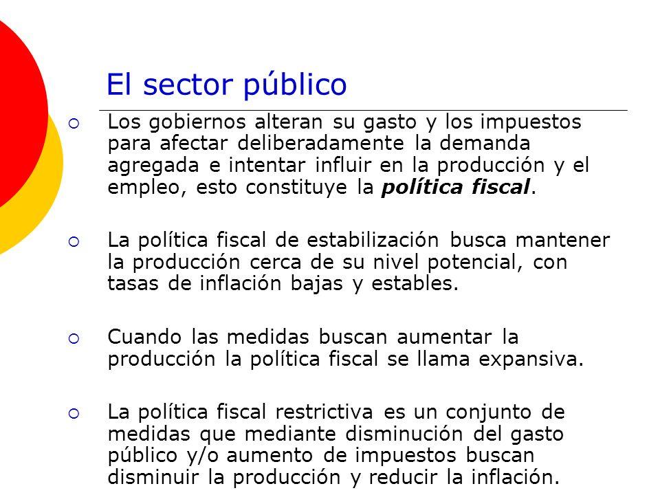 El sector público Los gobiernos alteran su gasto y los impuestos para afectar deliberadamente la demanda agregada e intentar influir en la producción