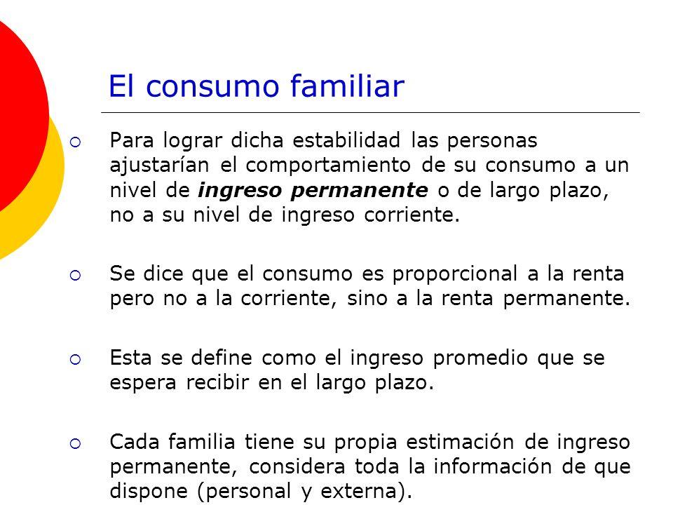 El consumo familiar Para lograr dicha estabilidad las personas ajustarían el comportamiento de su consumo a un nivel de ingreso permanente o de largo