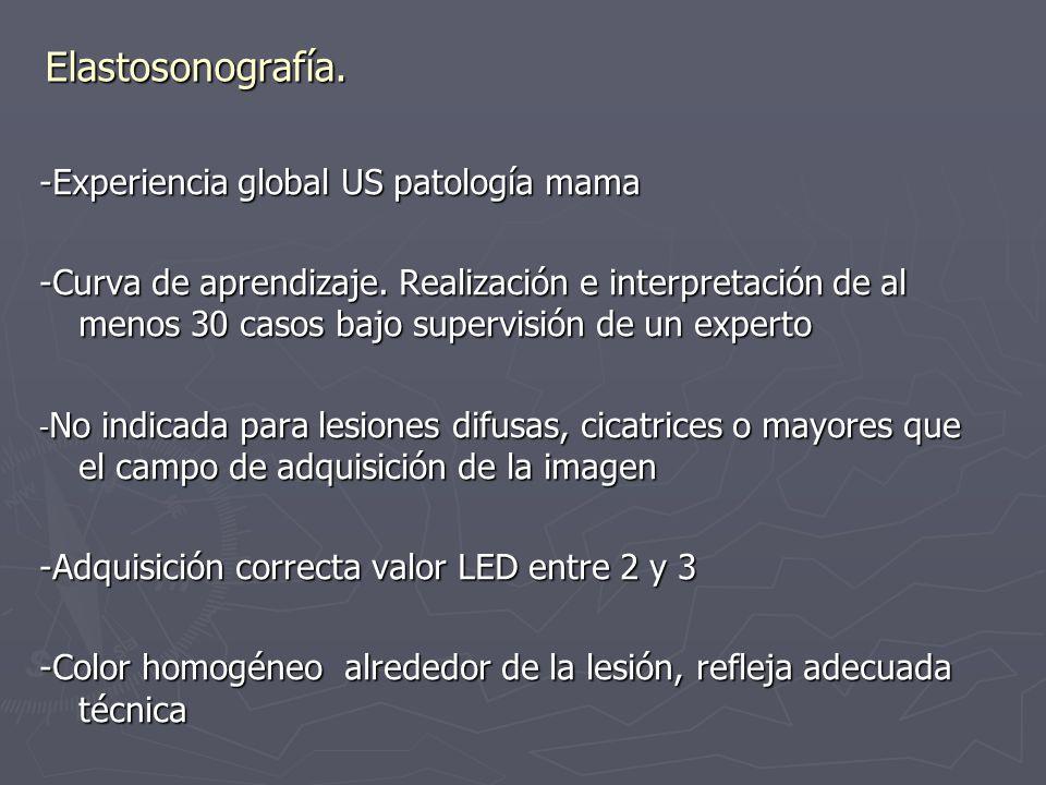 Elastosonografía. -Experiencia global US patología mama -Curva de aprendizaje. Realización e interpretación de al menos 30 casos bajo supervisión de u