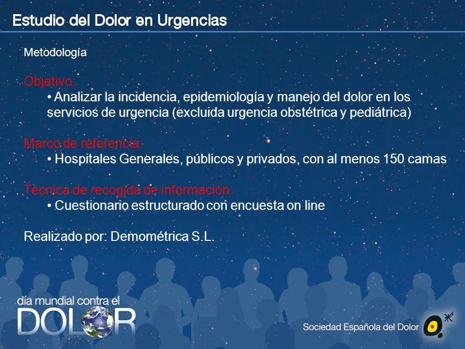 Metodología Objetivo: Analizar la incidencia, epidemiología y manejo del dolor en los servicios de urgencia (excluida urgencia obstétrica y pediátrica