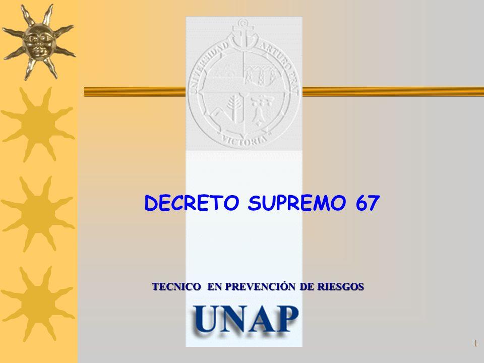 2 Decreto Supremo Nº 67 APRUEBA REGLAMENTO PARA APLICACIÓN DE ARTICULOS 15 Y 16 DE LA LEY N° 16.744, SOBRE EXENCIONES, REBAJAS Y RECARGOS DE LA COTIZACION ADICIONAL DIFERENCIADA.