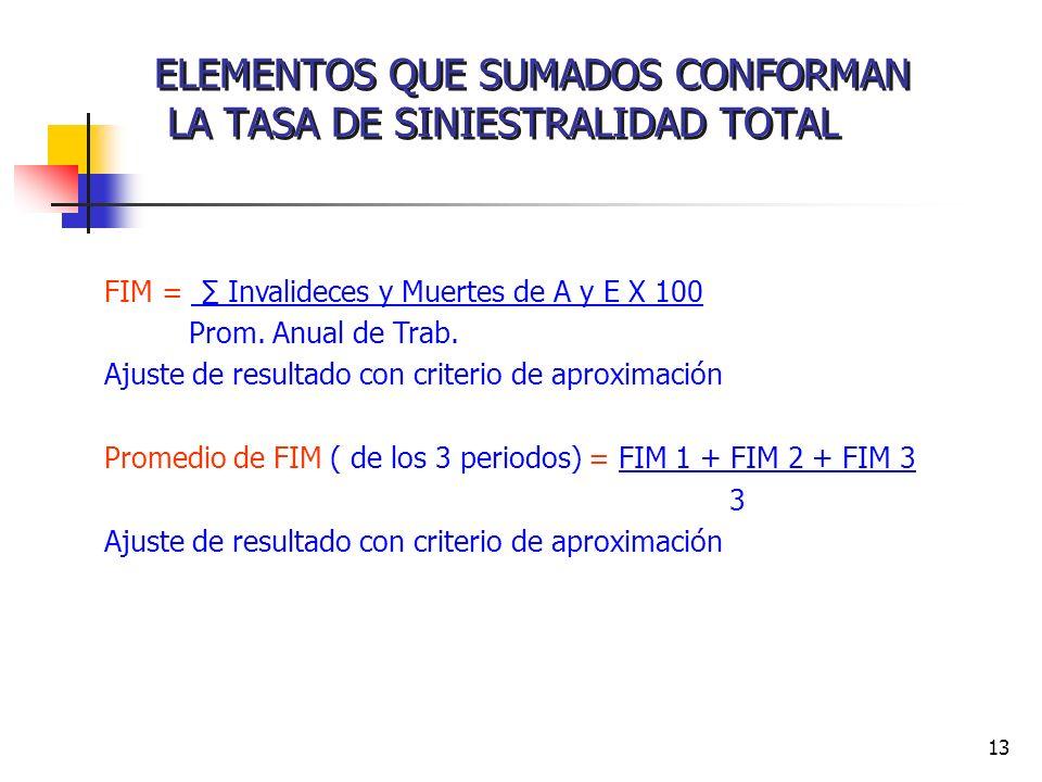 13 ELEMENTOS QUE SUMADOS CONFORMAN LA TASA DE SINIESTRALIDAD TOTAL FIM = Invalideces y Muertes de A y E X 100 Prom. Anual de Trab. Ajuste de resultado