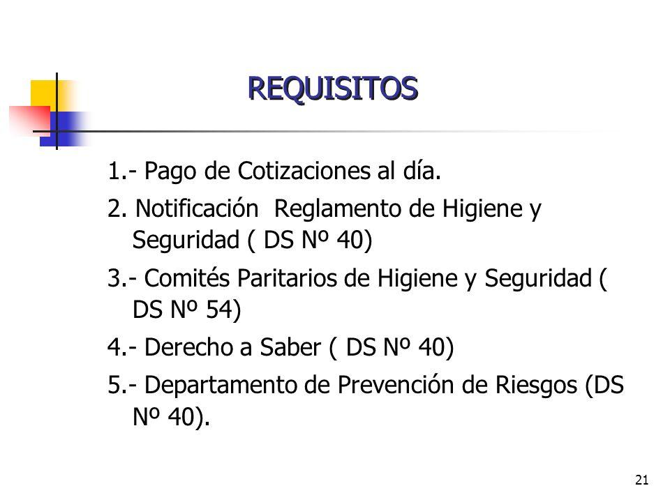 21 1.- Pago de Cotizaciones al día. 2. Notificación Reglamento de Higiene y Seguridad ( DS Nº 40) 3.- Comités Paritarios de Higiene y Seguridad ( DS N