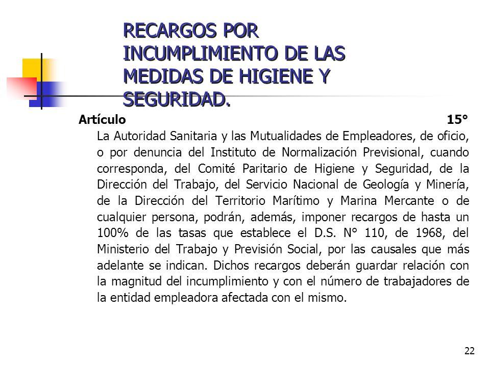 22 Artículo 15° La Autoridad Sanitaria y las Mutualidades de Empleadores, de oficio, o por denuncia del Instituto de Normalización Previsional, cuando